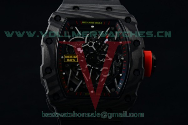 1:1 Richard Mille RM 35-02 RAFAEL NADA Miyota 9015 Skeleton Dial with PVD Case Red Crown RM 35-02